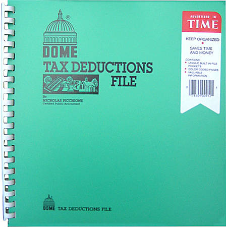 "Dome Tax Deduction File Book - 9 3/4"" x 11"" Sheet Size - Lime, Turquoise - Recycled - 1 Each"