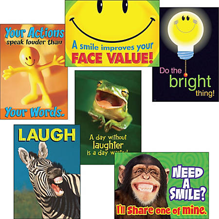 TREND ARGUS Poster Combo Pack, Attitude and Smiles, Prints, 13 3/8 x 19, 6/Pack