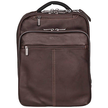 2b5d915572 Kenneth Cole Reaction Leather Laptop Backpack Brown - Office Depot