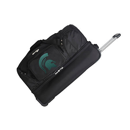 Denco Sports Luggage Rolling Drop-Bottom Duffel Bag, Michigan State Spartans, Black