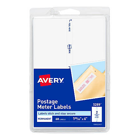 """Avery® Postage Meter Labels For Personal Post Office™ E700, 5289, 1 3/16"""" x 6"""", White, Pack Of 60"""
