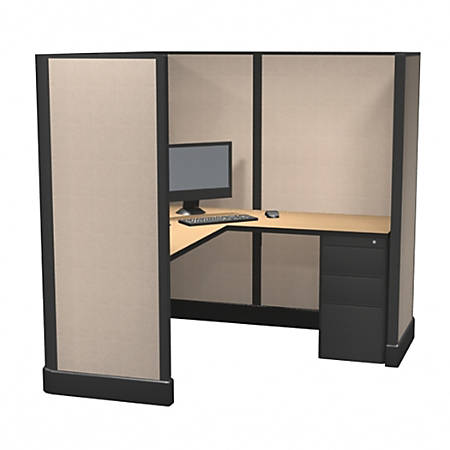 Cube Solutions Commercial-Grade Full-Height L-Shaped Space-Saver Cubicle, Single Cubicle