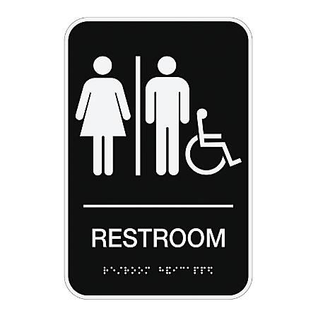 "Cosco® ADA Room Accessible Restroom Sign, 6"" x 9"", Black"