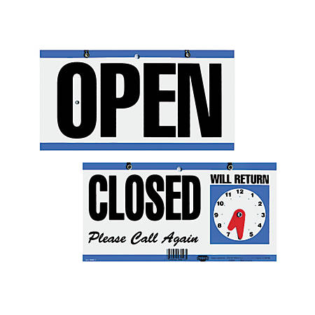 "Cosco® Open/Closed/Will Return With Clock Sign, 6"" x 11 1/2"""