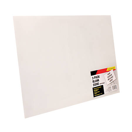 """Cosco® Large White Blank Signs with Metal Stakes, 19"""" x 15"""", Pack Of 3"""