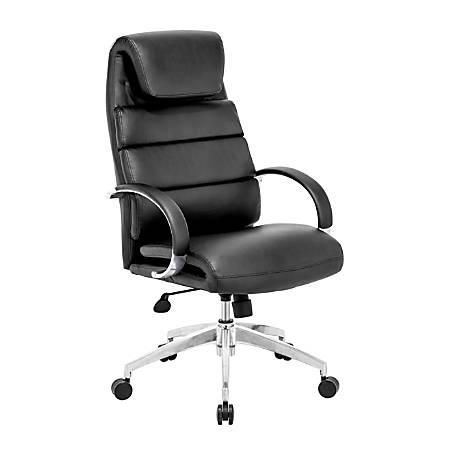"Zuo® Modern Lider Comfort Mid-Back Chair, 44 1/2""H x 27 1/2""W x 27 1/2""D, Black/Silver"