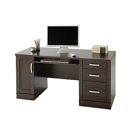 Sauder Office Port Computer Credenza Dark Alder By