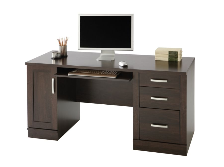 Sauder Office Port Computer Credenza Dark Alder By Office Depot U0026 OfficeMax