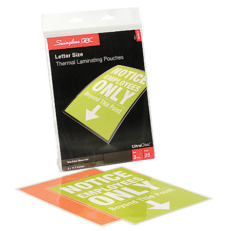 "GBC® UltraClear™ Thermal Laminating Pouches, Letter Size, 3 Mil, 9"" x 11.5"", Pack Of 25"