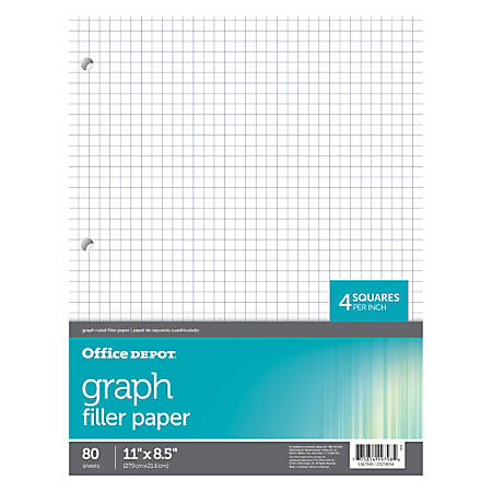 "Office Depot® Brand Quadrille-Ruled Notebook Filler Paper, 8 1/2"" x 10 1/2"", White, Pack Of 80 Sheets"