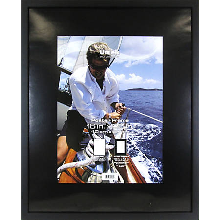 """Uniek Gallery Poster Frame, 16"""" x 20"""", Matted For 10"""" x 14"""", Black"""