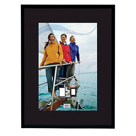 """Uniek Gallery Poster Frame, 18"""" x 24"""", Matted For 12"""" x 18"""", Black"""