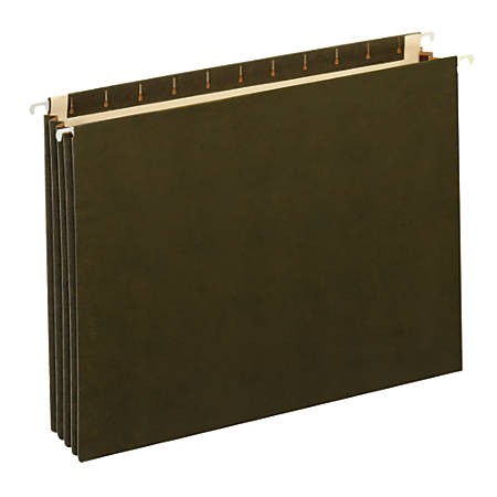 """Office Depot® Brand Expanding Hanging File Pocket With Full-Height Gussets, 3 1/2"""" Expansion, Legal Size, Standard Green"""