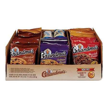 Grandma's Cookies, Variety Pack, Box Of 36 Bags