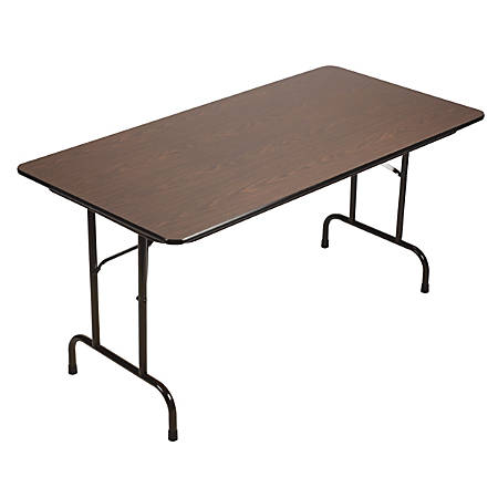 "Correll Folding Table, 29"" x 60"", Walnut/Black"