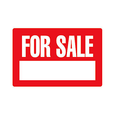 """Cosco Printed Sign, For Sale, 8"""" x 12"""", Red/White"""