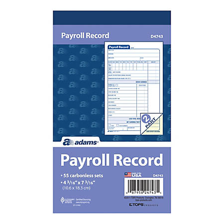 "Adams® Carbonless Employee Payroll Record Books, 2-Part, 4 3/16"" x 7 3/16"", White/Canary, 55 Sets Per Book, 5 Books Per Pack, Carton Of 5 Packs"