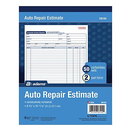 """Adams® Auto Repair Estimate Books, 2-Part, 8 7/16"""" x 10 3/4"""", White/Canary, 50 Sets Per Book, 6 Books Per Carton"""
