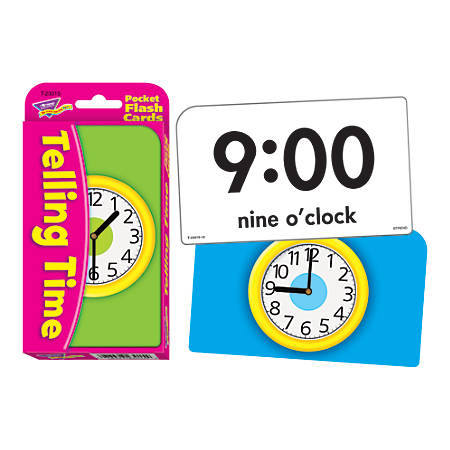 """TREND Pocket Flash Cards, 3 1/8"""" x 5 1/4"""", Telling Time, Box Of 56"""