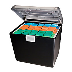 "OfficeMax Weather-Resistant Compact File Box, 7"" x 15"" x 13"", Black"
