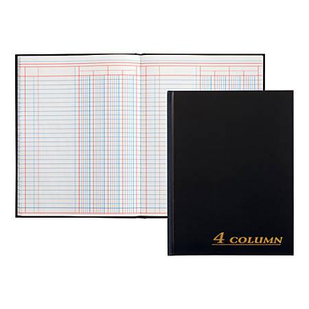 "Adams® 4-Column Account Book, 9 1/4"" x 7"", Black"
