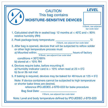 """Tape Logic® Preprinted Shipping Labels, DL1381, Caution Moisture Sensitive Devices, Square, 4"""" x 4"""", Blue/White, Roll Of 500"""
