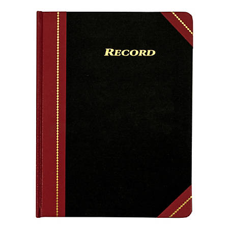 "Adams® Record Ledger, 10 3/4"" x 8 1/4"", Black/Maroon"