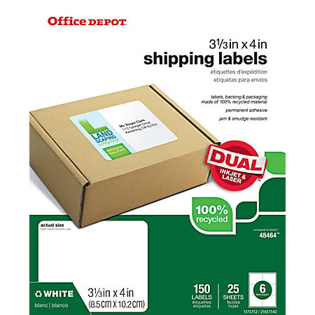 "Office Depot® Brand 100% Recycled Mailing Labels, OD98834, 3 3/8"" x 4"", White, Pack Of 150"