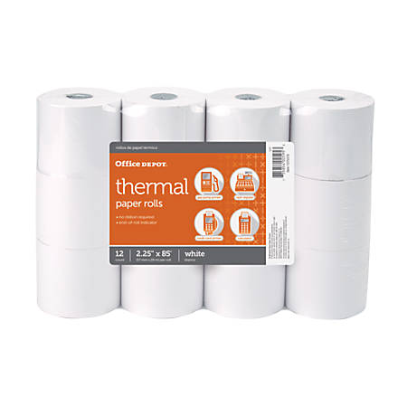 """Office Depot® Thermal Paper Rolls, 2.25"""" x 85', White, Pack of 12"""