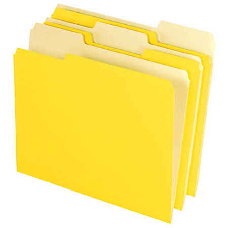 Office Depot® Brand File Folders, Letter Size, 1/3 Cut, Yellow, Box Of 100