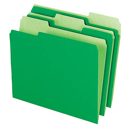 Office Depot® Brand File Folders, Letter Size, 1/3 Cut, Bright Green, Box Of 100