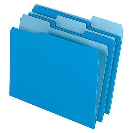 Office Depot® Brand File Folders, Letter Size, 1/3 Cut, Blue, Box Of 100