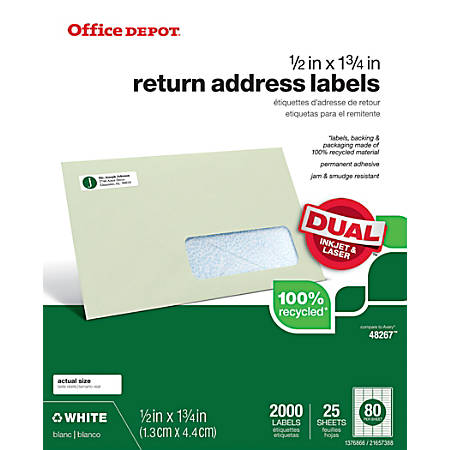 "Office Depot® Brand 100% Recycled Mailing Labels, OD99313, 1/2"" x 1 3/4"", White, Pack Of 2,000"