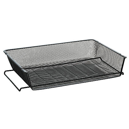 OfficeMax Mesh Stacking Side Load Letter Tray, Black