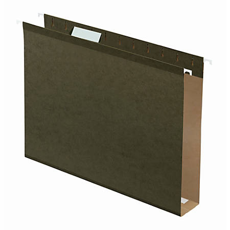 "Office Depot® Tab-View Extra-Capacity Box-Bottom Hanging Folders, Letter Size (8-1/2"" x 11""), 2"" Expansion, 70% Recycled, Green, Box Of 25"