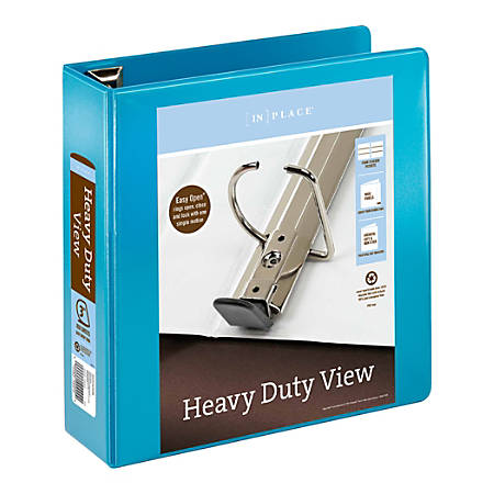 "Office Depot® Brand Heavy-Duty View Binder, 3"" Rings, 54% Recycled, Teal"