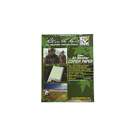 "Rite in the Rain® Tactical All-Weather Copier Paper, Letter Size (8 1/2"" x 11""), Green, Ream Of 200 Sheets"