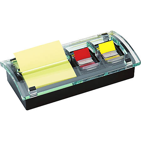 """Post-it® Pop-up Note and Flag Dispenser, 3""""x 3"""" Pop-up Style Notes and 1"""" Flags - 3"""" x 3"""" Note, 1"""" Flag - 100 Note Capacity - 50 Flag Capacity - Black, Translucent"""