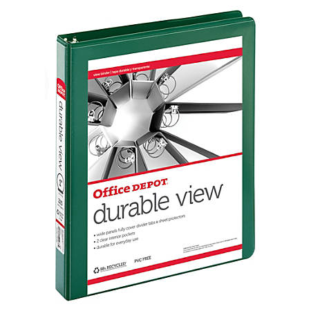 """Office Depot® Brand Durable View Round-Ring Binder, 1"""" Rings, 61% Recycled, Dark Green"""