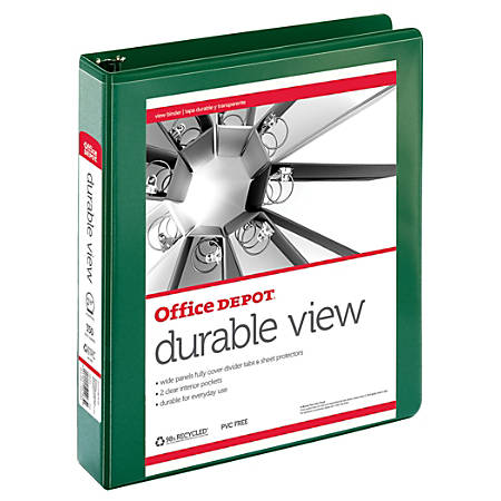 "Office Depot® Brand Durable View Round-Ring Binder, 1 1/2"" Rings, 61% Recycled, Dark Green"