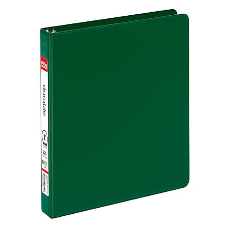 "Office Depot® Brand Durable Reference Binder, 1"" Rings, 64% Recycled, Dark Green"