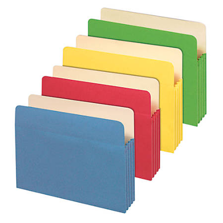 "Office Depot® Brand File Cabinet Pockets, Letter Size, 3 1/2"" Expansion, Assorted Colors, Pack Of 5 Pockets"