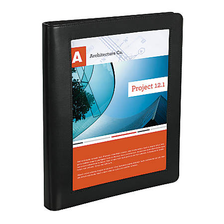 "Office Depot® Brand Premium Leatherette 1"" Presentation View Binder, Black"