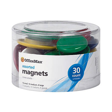 OfficeMax® Brand Assorted Size Magnets, Assorted Colors, Pack Of 30
