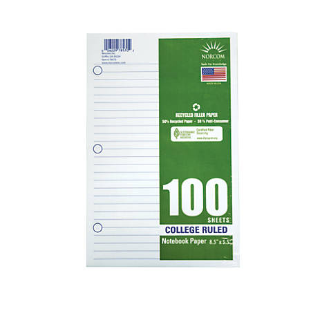 "Office Depot® Brand Filler Paper, 8-1/2"" x 5-1/2"", 100 Count, College Ruled, 15-lb"