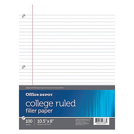 Office Depot® Brand Filler Paper, College Ruled, 92 Brightness, 16 Lb, Pack Of 100 Sheets