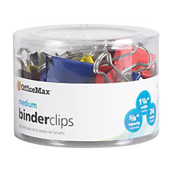 OfficeMax Brand Binder Clips Medium Multicolored