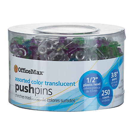 OfficeMax® Brand Push Pins, Assorted Colors, Pack of 250
