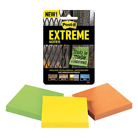 "Post-it® Extreme Notes, 3"" x 3"", Assorted Colors, Pack Of 3 Pads"