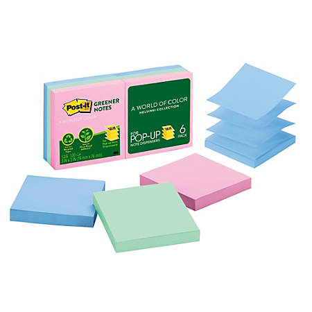 "Post it® Greener Pop up Notes, 100% Recycled, 3"" x 3"", Helsinki, Pack Of 6 Pads"